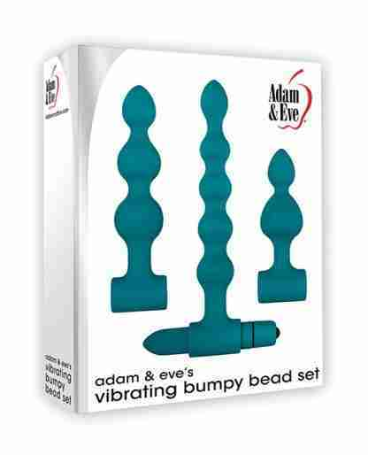 Adam & Eve Vibrating Anal Bumpy Bead Set - Teal